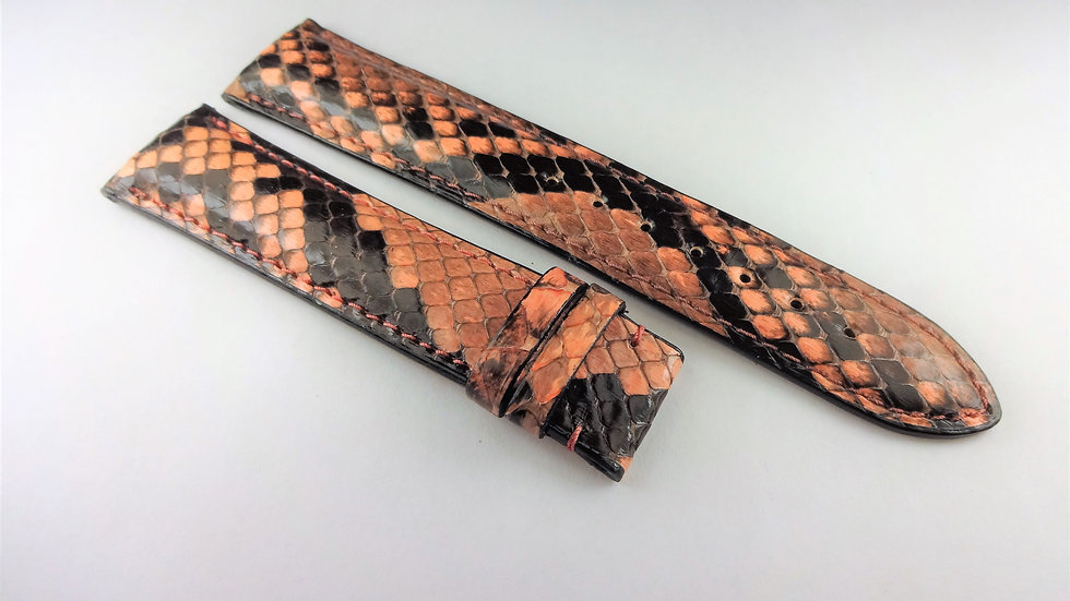 Croton 20mm Salmon Pink Genuine Python For Deployment