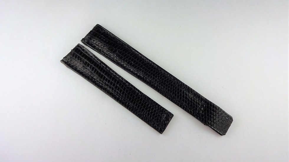Replacement For Cartier 13mm Black Genuine Lizard