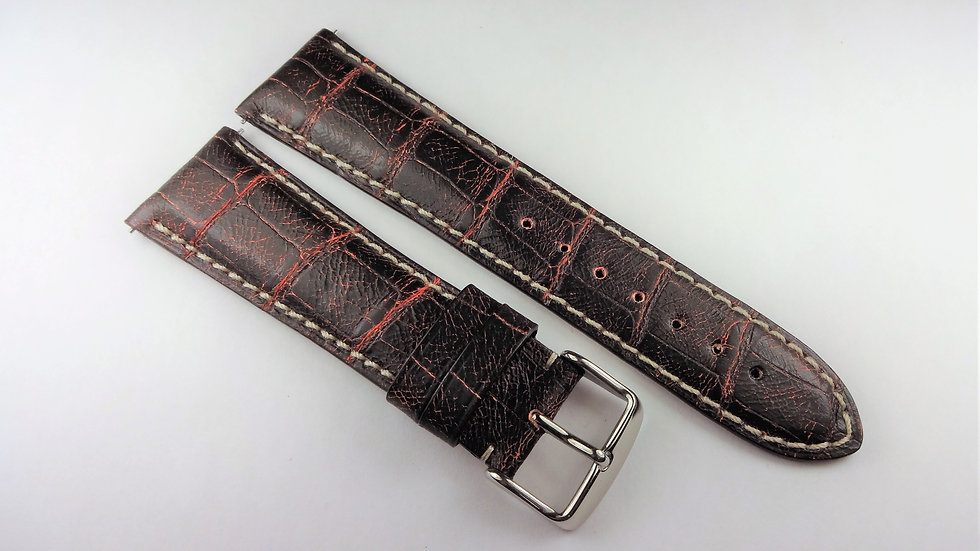 Replacement 24mm Rust Genuine Alligator