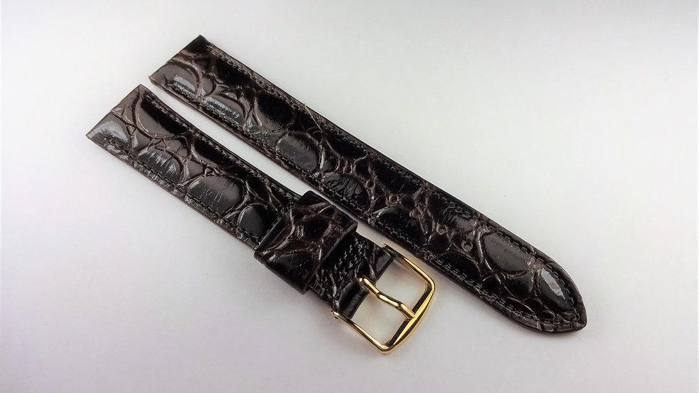 Replacement Speidel 17mm Dark Brown Genuine Leather Croco Grain