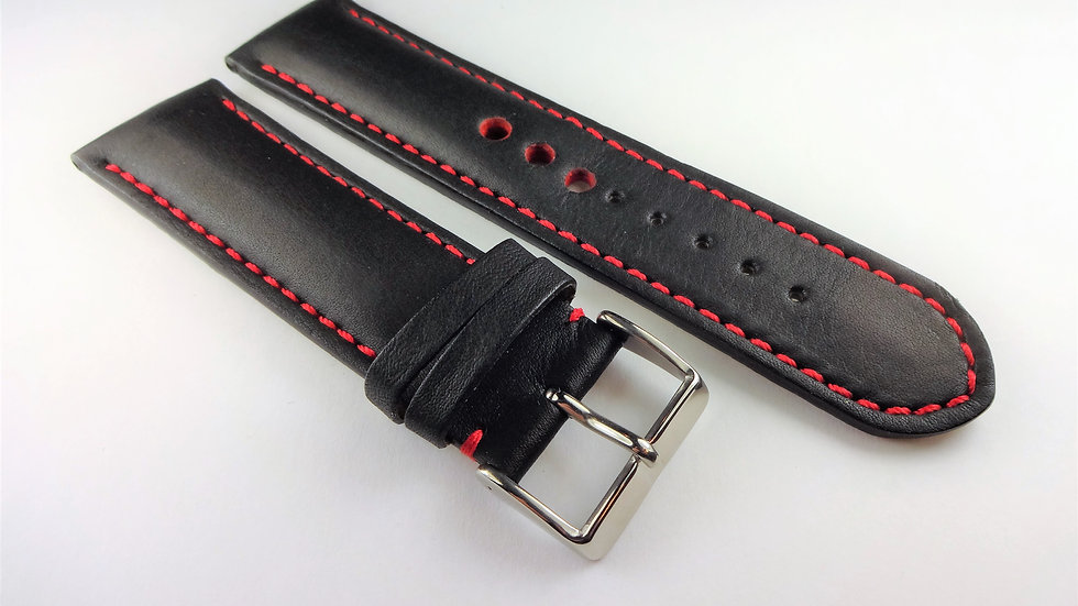 Replacement Cowhide Leather 24mm Black Customized