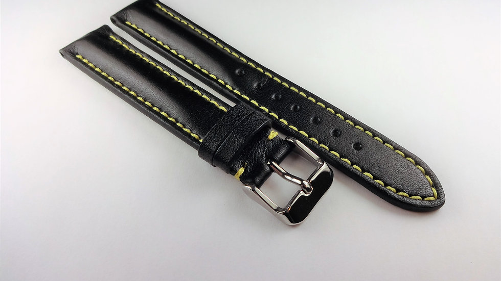 Replacement Black Cowhide Leather 18mm Yellow Stitching
