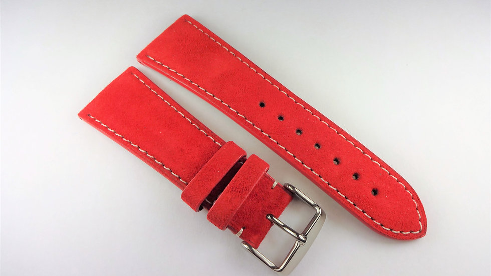 Replacement  26mm Red Genuine Suede Leather