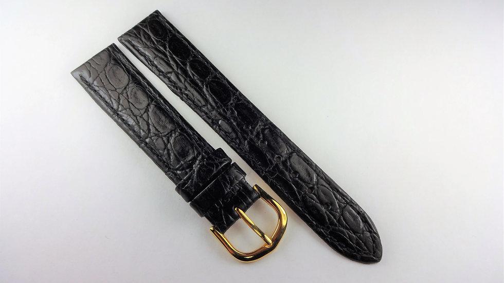 Replacement Hadley-Roma 18mm Black Genuine Leather Croco Grain