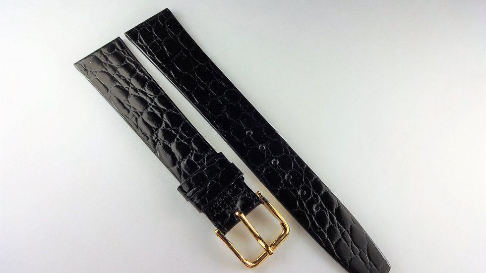 Seiko 18mm Black Genuine Calfskin Crocodile Grain