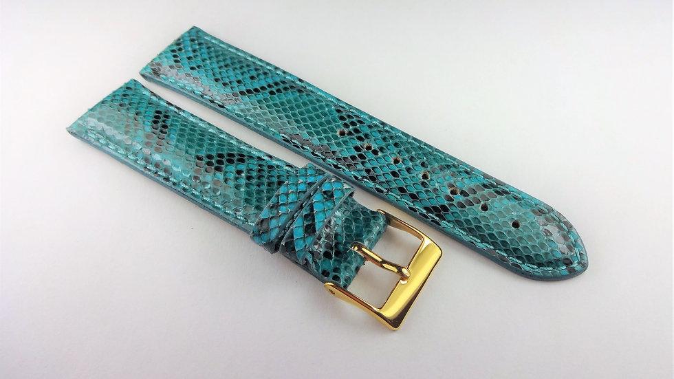 Chase-Durer 18mm Light Blue/Aqua Genuine Snakeskin