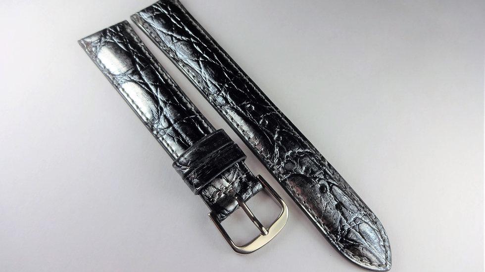 Replacement  18mm Gray/Silver Genuine Calfskin Crocodile Grain
