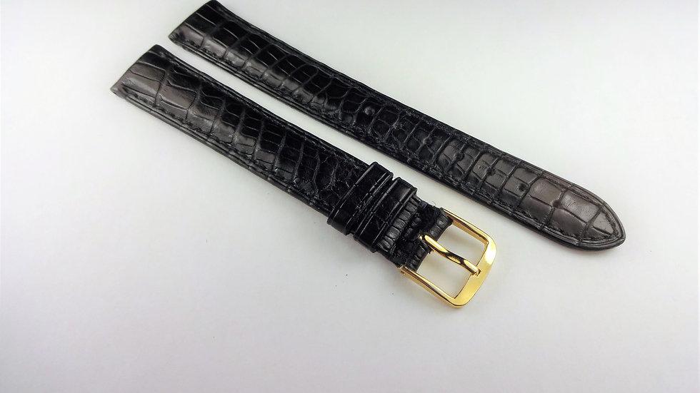 Cartier 16mm Black Genuine Crocodile Long