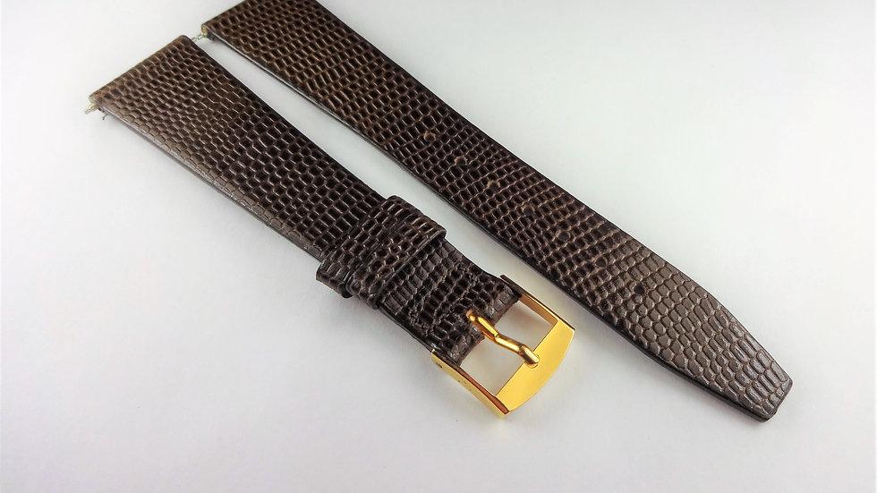 Replacement 19mm Dark Brown Genuine Leather Lizard Grain