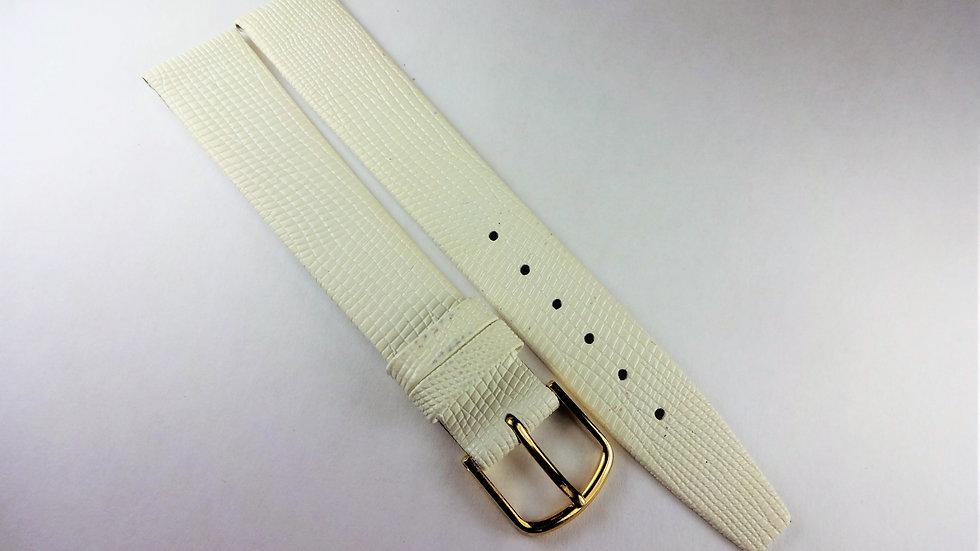 Replacement 16mm White Genuine Leather Lizard Grain