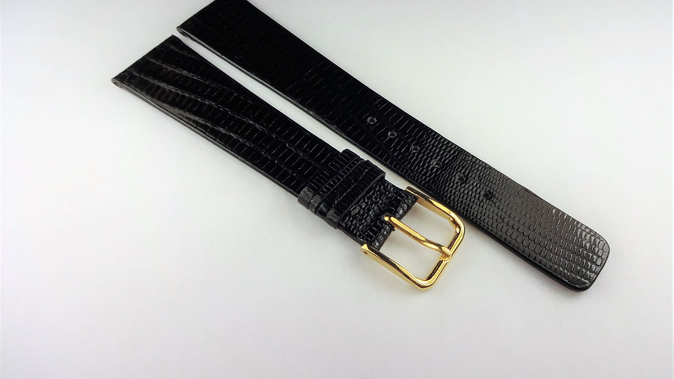 Replacement 19mm Black Genuine Lizard Not Padded