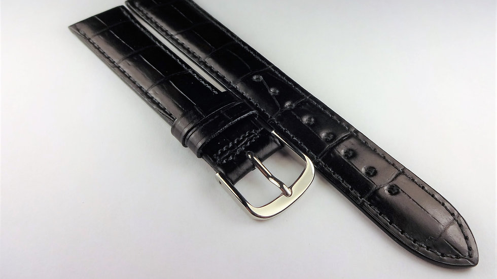 Hamilton 18mm Black Croco Grain