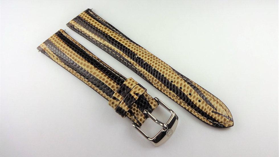 Michele Brown/Cream 18mm Genuine Leather Snake Grain