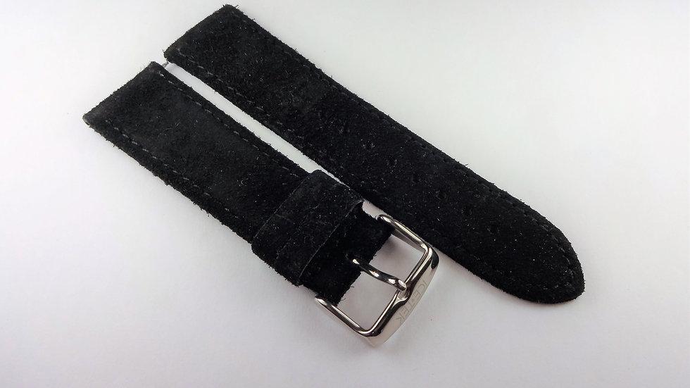 Ice-Tek 22mm Black Genuine Suede Leather