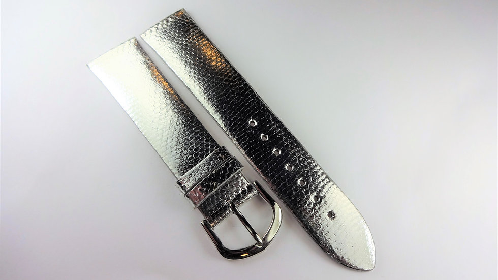 Replacement 20mm Silver Genuine Snakeskin