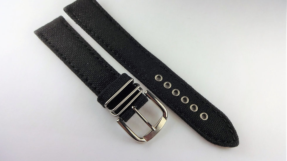 Replacement For Hamilton 18mm Black Genuine Leather Fabric Top
