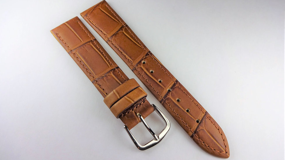 Replacement Hoders 18mm Brown Genuine Leather Alligator Grain