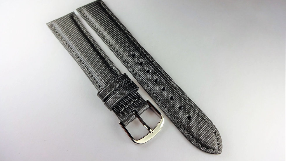 Replacement  18mm Gray Genuine Leather Rubberized Top