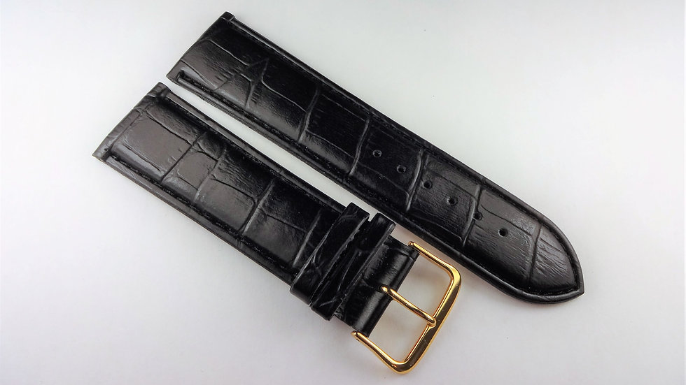Replacement 24mm Black Synthetic Leather Alligator Grain