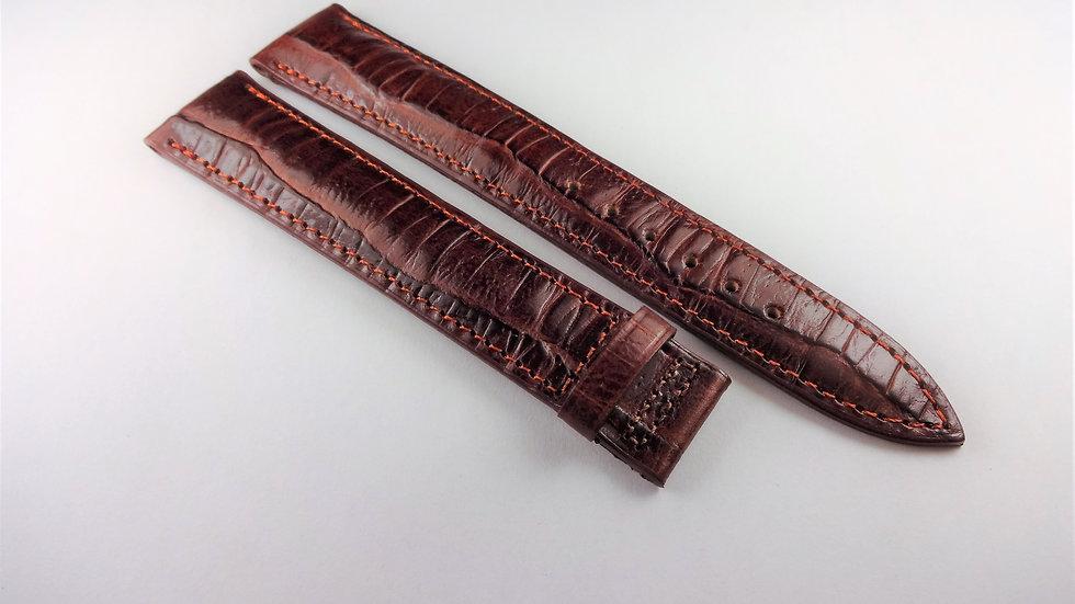 Fendi 18mm Brown Genuine Calfskin Croco Grain for Deployment