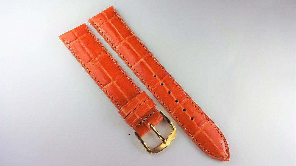 Replacement 18mm Orange Genuine Leather Alligator Grain