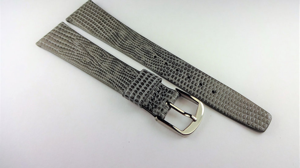 Rotary 18mm Gray Genuine Leather Lizard Grain