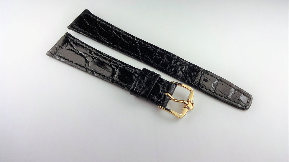 Omega 18mm Black Genuine Crocodile