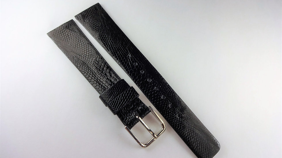 Seiko 18mm Black Genuine Lizard