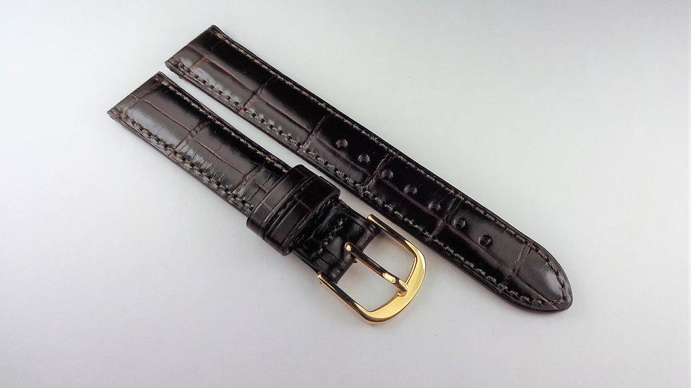 Replacement Dark Brown 15mm Genuine Calfskin Alligator Grain