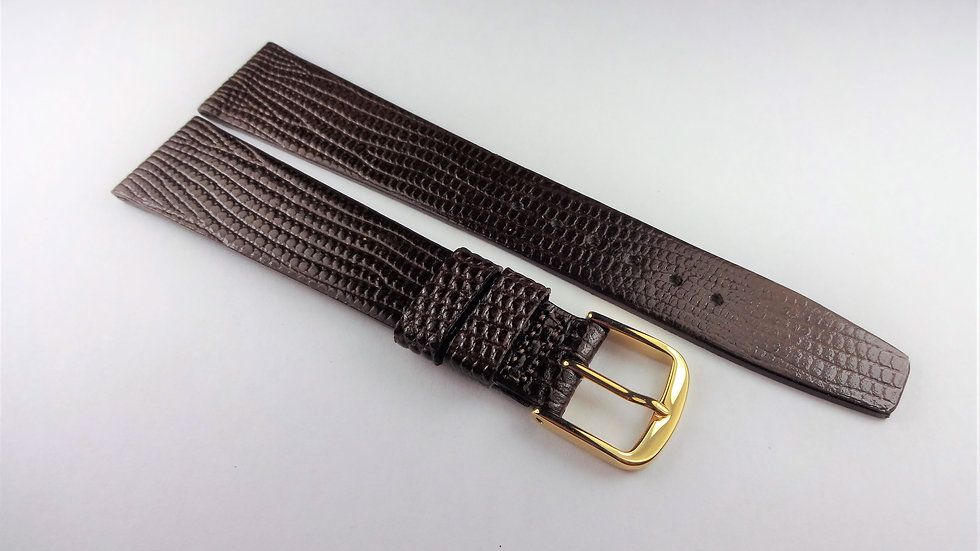 Rotary 18mm Dark Brown Genuine Leather Lizard Grain