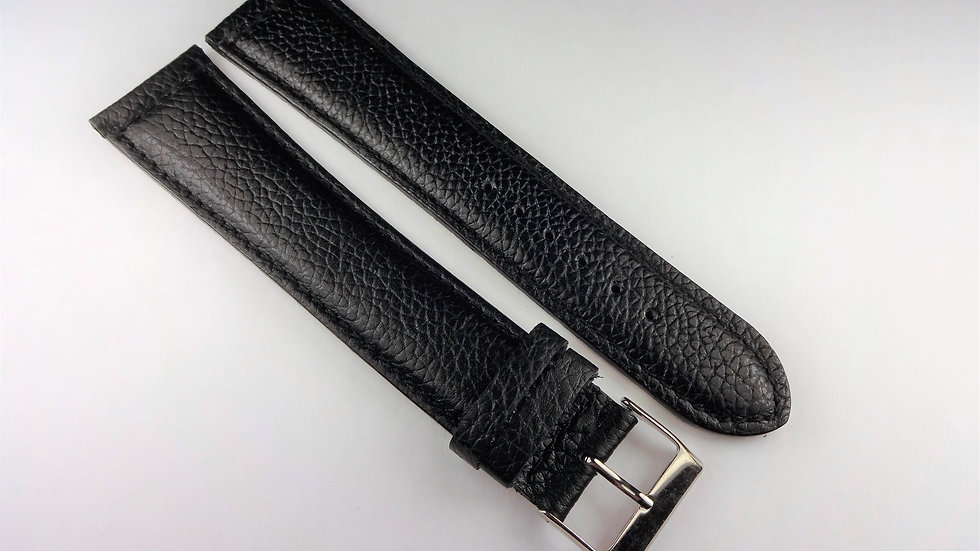 Replacement 24mm Black Genuine Grained Leather