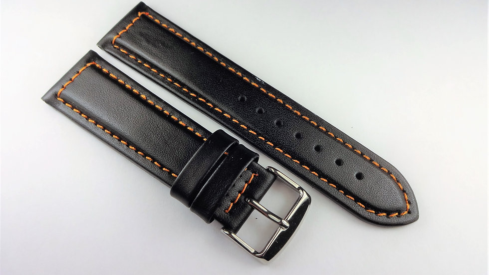 Replacement 22mm Black Genuine Leather