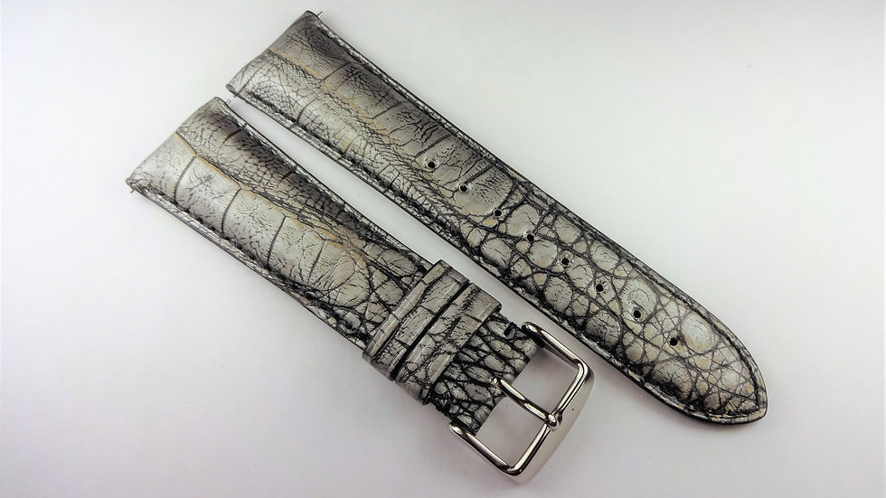 Replacement 24mm Silver Genuine Caiman Crocodile