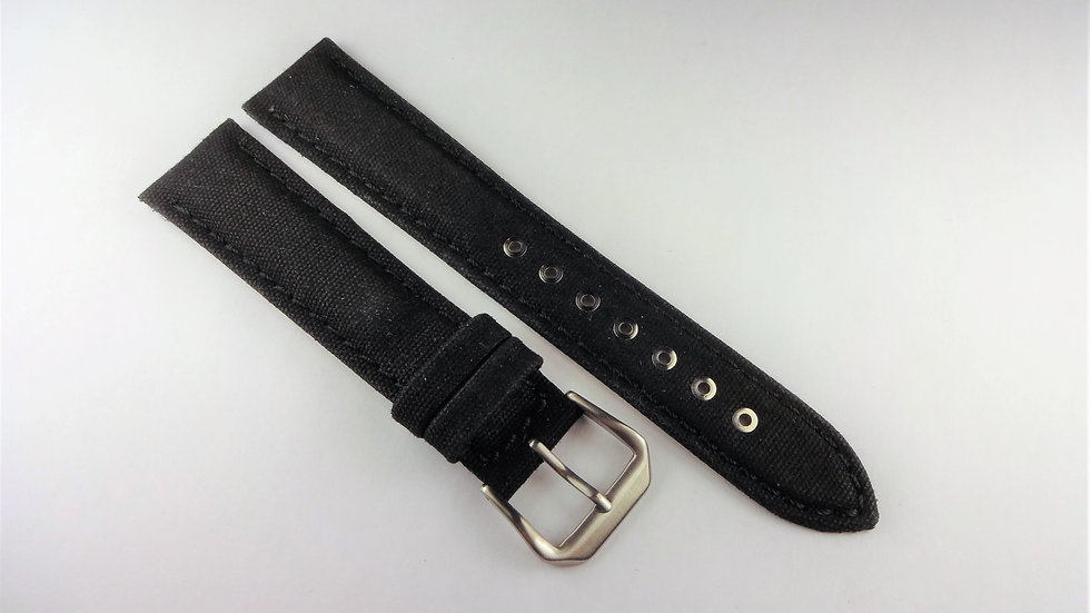Replacement Hadley-Roma 18mm Black Genuine Leather Fabric Top