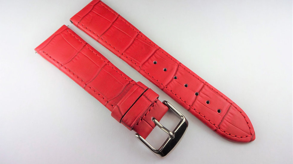 Replacement 22mm Red Genuine Leather Alligator Grain