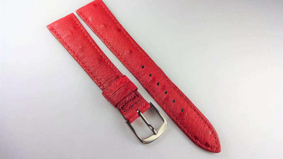 Replacement 18mm Red Ostrich Grain On Pigskin