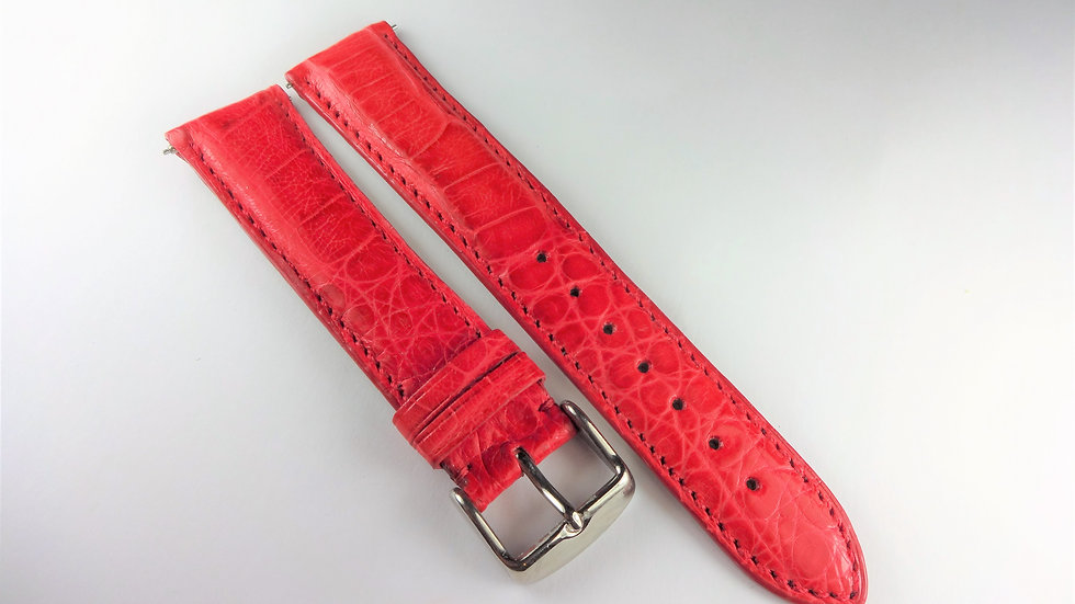 Replacement 20mm Red Genuine Caiman Crocodile
