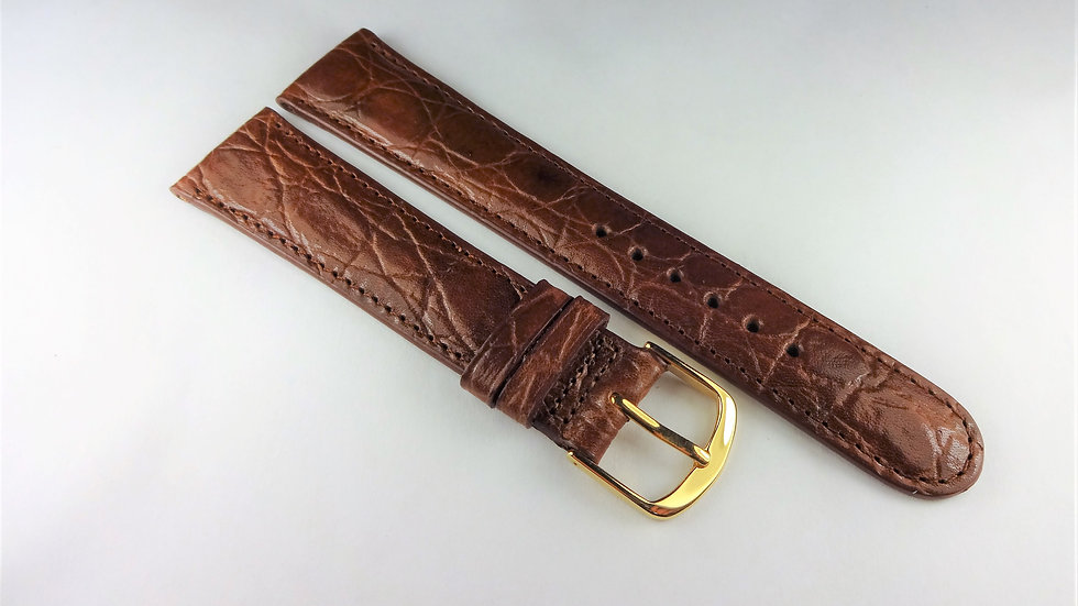 Replacement 19mm Brown Genuine Leather Croco Grain