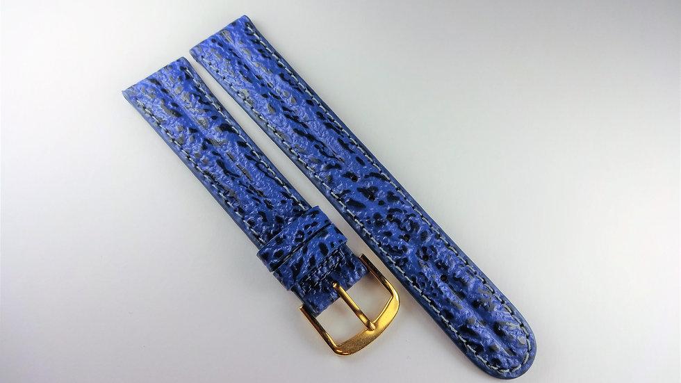 Replacement 18mm Blue Genuine Calfskin Shark Grain