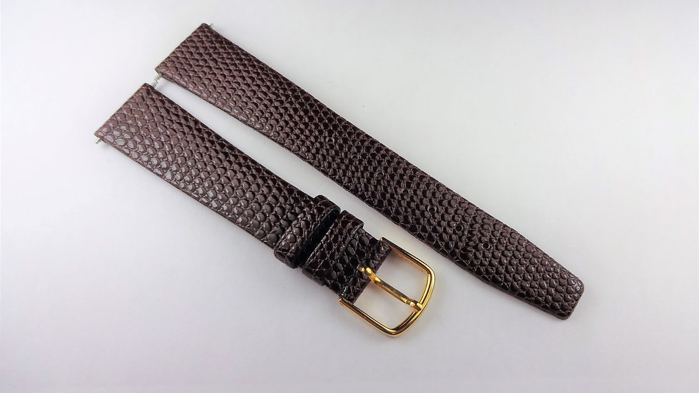Replacement 17mm Brown Genuine Leather Lizard Grain