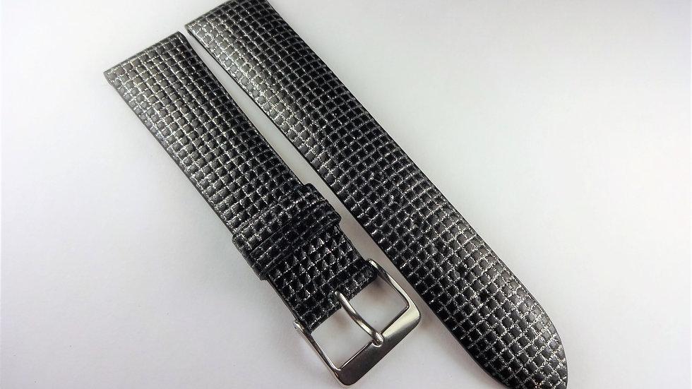 Replacement 20mm Dark Gray-Silver Genuine Calfskin