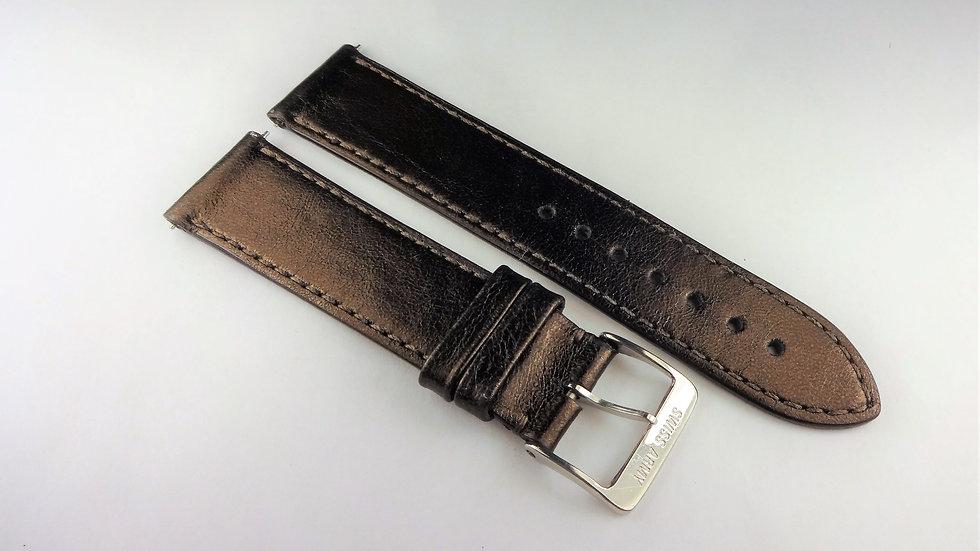 Replacement 19mm Metallic Dark Brown Genuine Leather