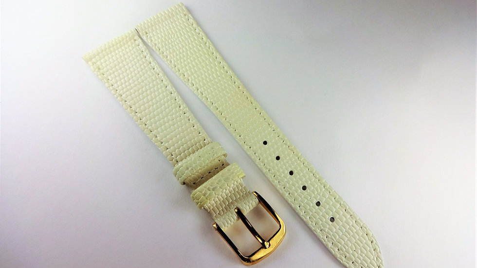 Replacement 20mm White Genuine Leather Lizard Grain