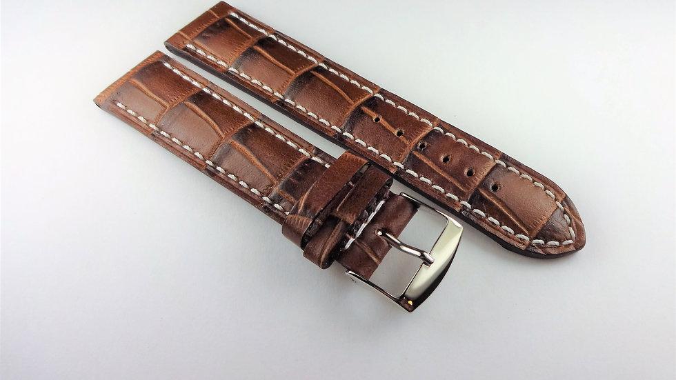 Replacement Calfskin Alligator Grain Leather 20mm Brown