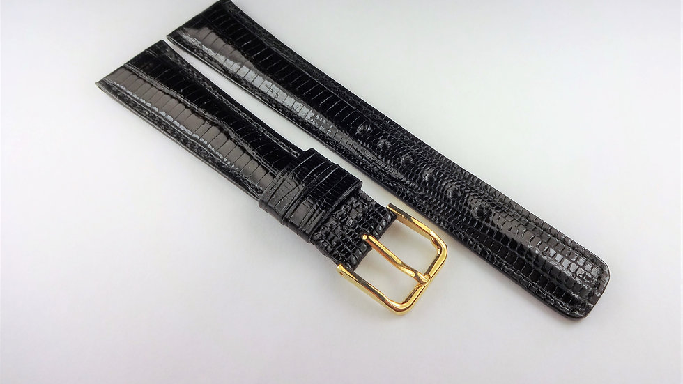 Replacement 19mm Black Genuine Lizard Padded