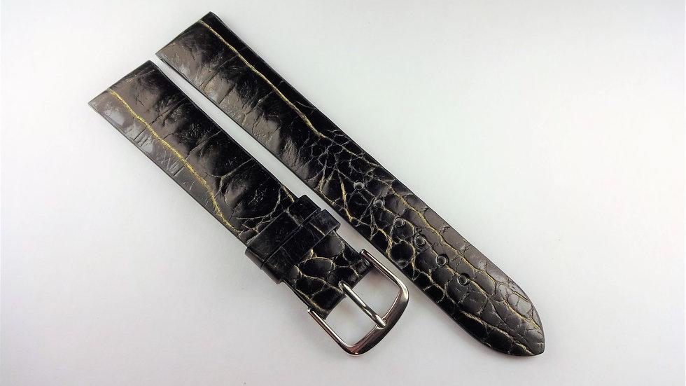 Replacement 18mm Black/Gold Genuine Leather Alligator Grain
