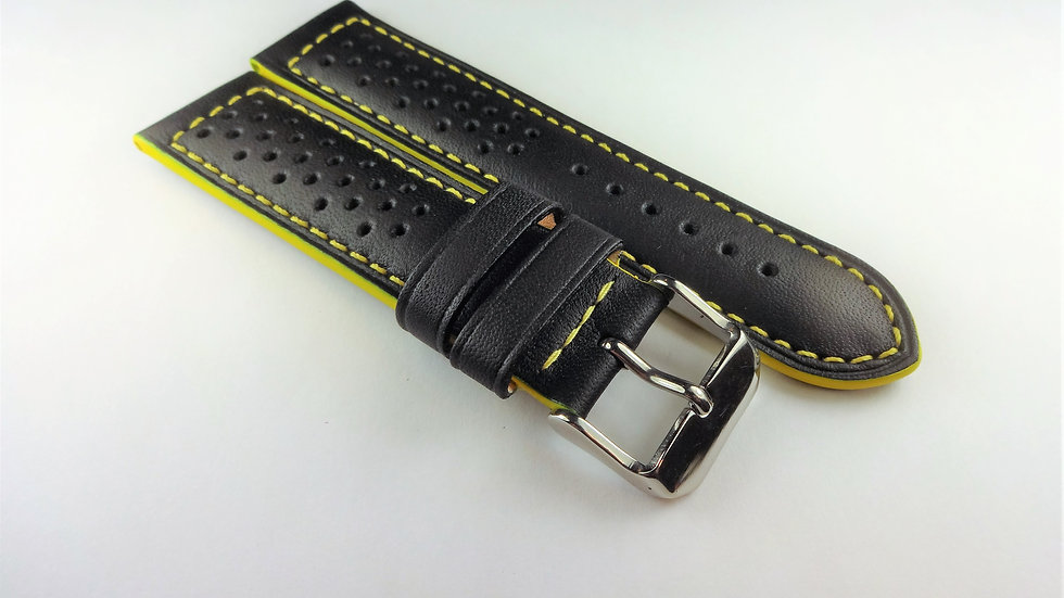 Racing/Rally Perforated Genuine Leather 22mm Black