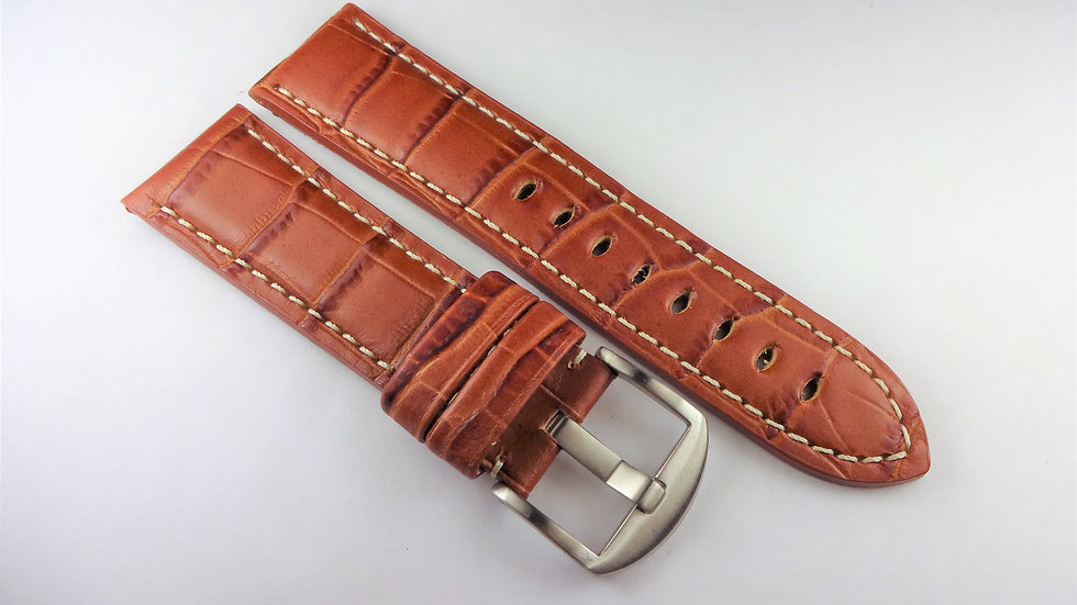 Replacement Hadley-Roma for Panerai 24mm Brown Genuine Leather Alligator Grain