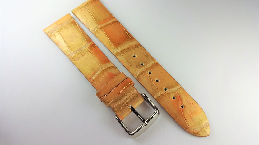 Replacement 20mm Gold Genuine Calfskin Alligator Grain