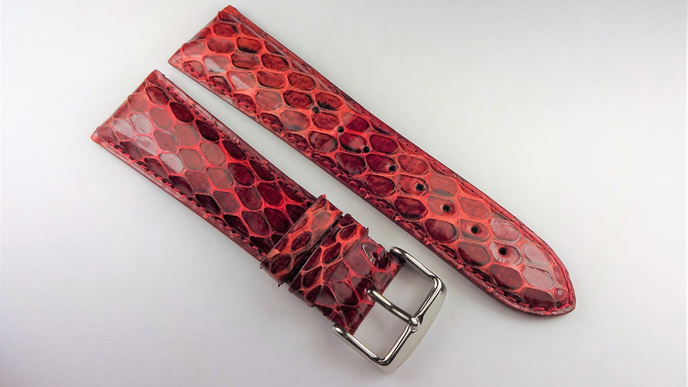 Replacement 24mm Red Genuine Snakeskin